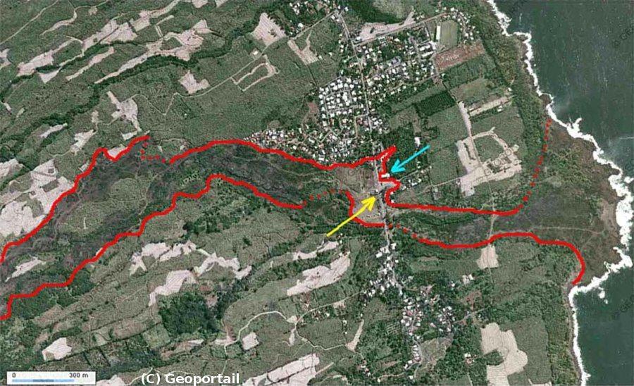 Vue aérienne annotée de Piton Sainte Rose