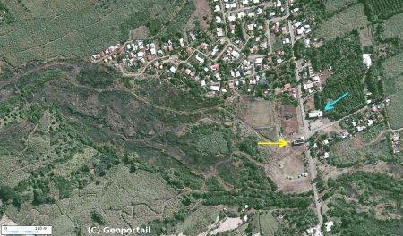 Vue aérienne détaillée de Piton Sainte Rose