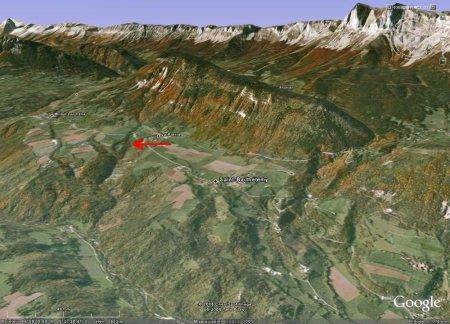 Localisation de la Fontaine Ardente (flèche rouge), Hameau de La Pierre, le Gua, Isère
