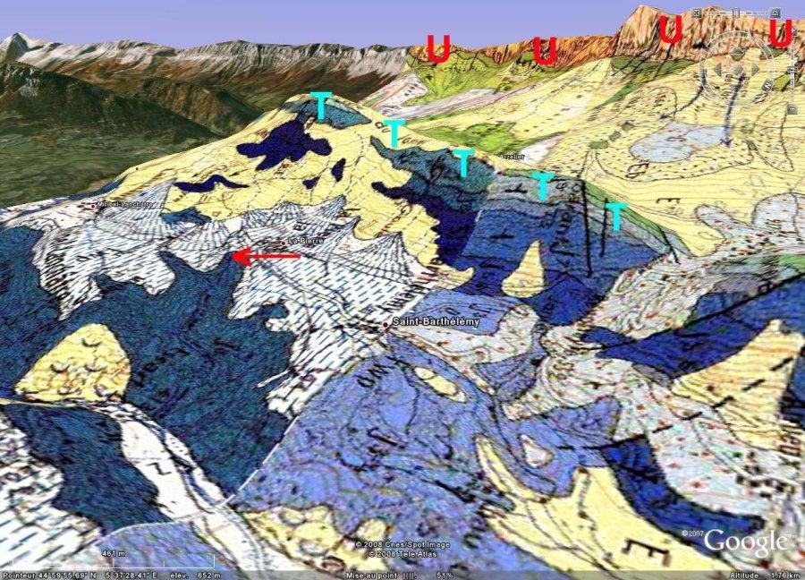 Localisation géologique de la Fontaine Ardente, Hameau de La Pierre, le Gua, Isère