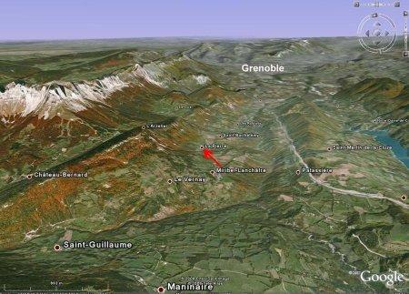 Localisation de la Fontaine Ardente sur Google Earth, Hameau de La Pierre, le Gua, Isère