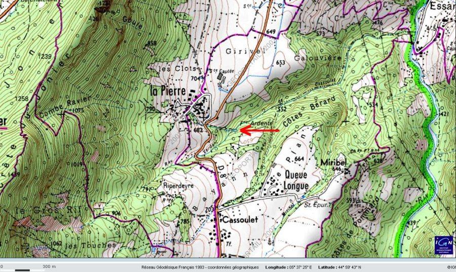 Localisation de la Fontaine Ardente sur carte IGN, Hameau de La Pierre, le Gua, Isère