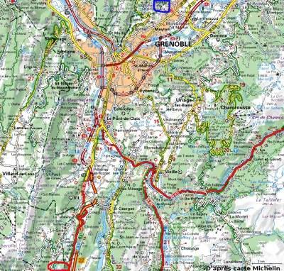 Localisation de la Fontaine Ardente du hameau La Pierre sur carte Michelin (cercle rouge, en bas à gauche)
