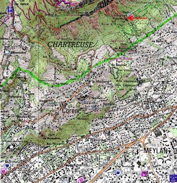 Localisation de la Fontaine Ardente de Meylan, près de Grenoble, sur carte IGN