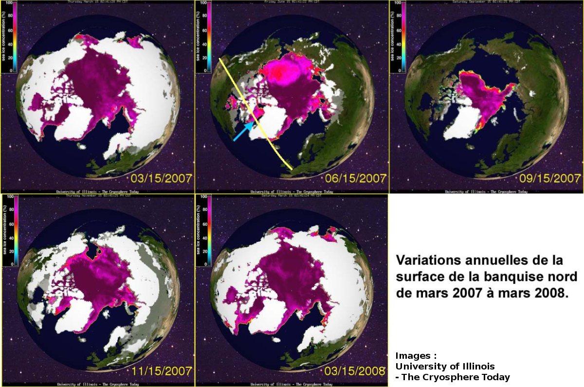 Évolution annuelle de la banquise Nord en 2007-2008, entre la fin des hivers 2007 et 2008