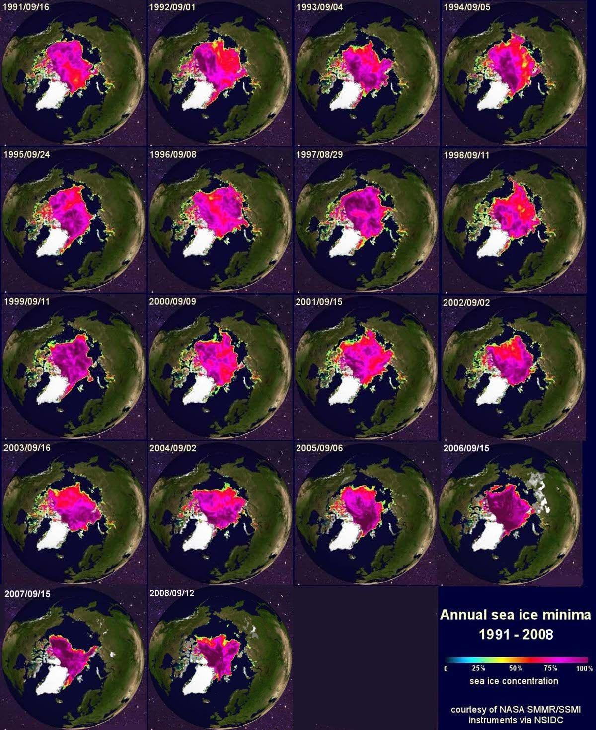 Évolution de la banquise de septembre (taille minimale en fin d'été) entre 1991 et 2008
