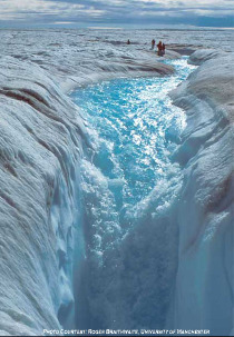 Un ruisseau arrive devant un moulin et plonge à l'intérieur de la calotte glaciaire du Groenland