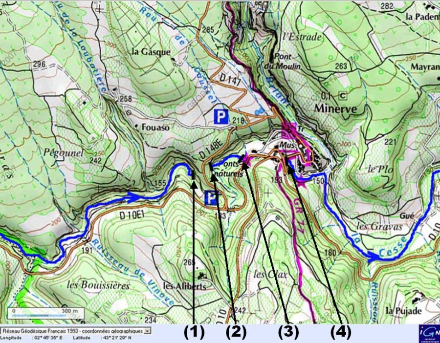 Extrait de la carte IGN (Géoportail) centré sur Minerve, Hérault