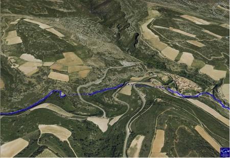Image oblique extraite du Géoportail 3D de l'IGN, la Cesse vers Minerve (Hérault)