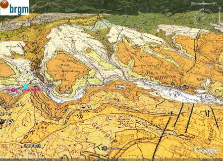 Carte géologique BRGM / Google Earth avec l'emplacement du site de prélèvement du calcaire à alvéolines de Minerve (Hérault)