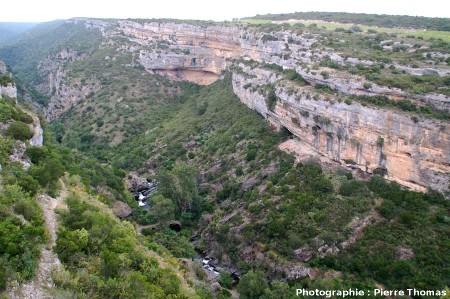Vue générale du canyon du Briant en amont de Minerve (Hérault)