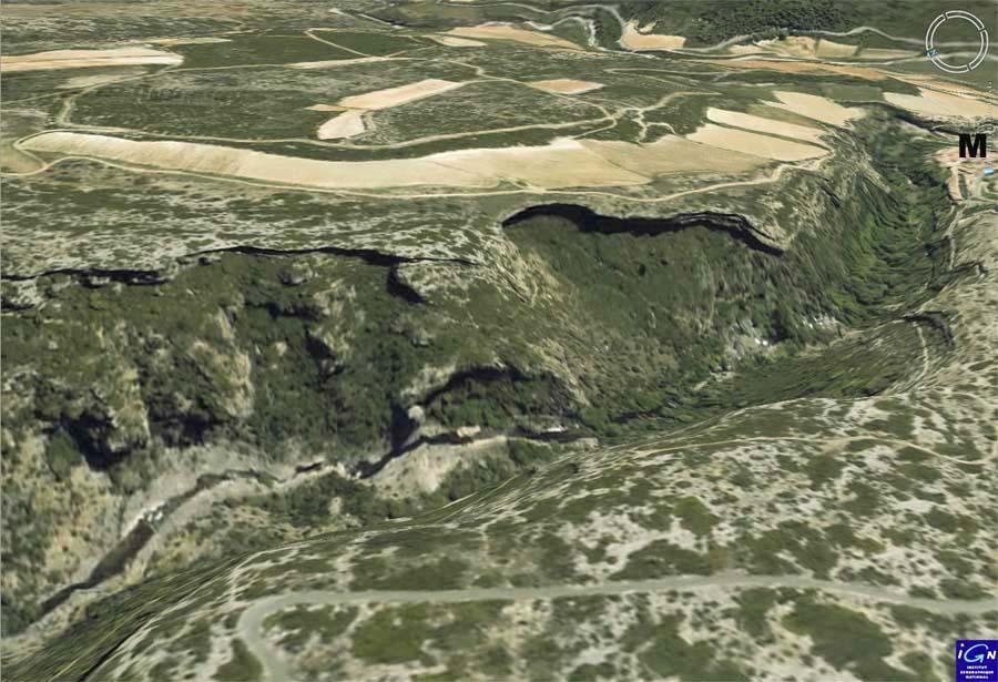 Image Geoportail du canyon du Briant en amont de Minerve (M) (Hérault)