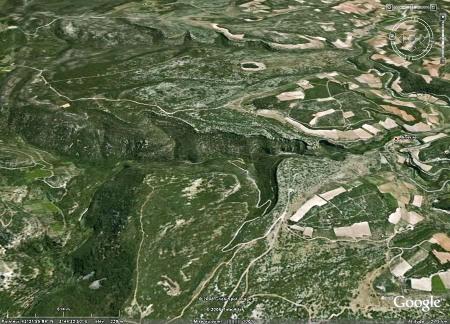 Vue Google Earth du canyon du Briant en amont de Minerve (au centre droit de l'image) (Hérault)