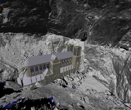 Salle dela Verna : modèle numérique de terrain réalisé par lasergrammétrie représentant la cathédrale Notre Dame de Paris en contre bas de la galerie Aranzadi