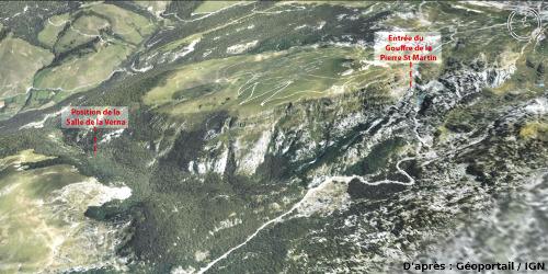 Position de la salle de la Verna et de l'entrée du gouffre de la Pierre Saint Martin, qui s'ouvre en contrebas du col du même nom