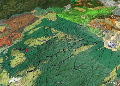 Vue d'ensemble du massif de la Pierre Saint Martin, avec le fond géologique