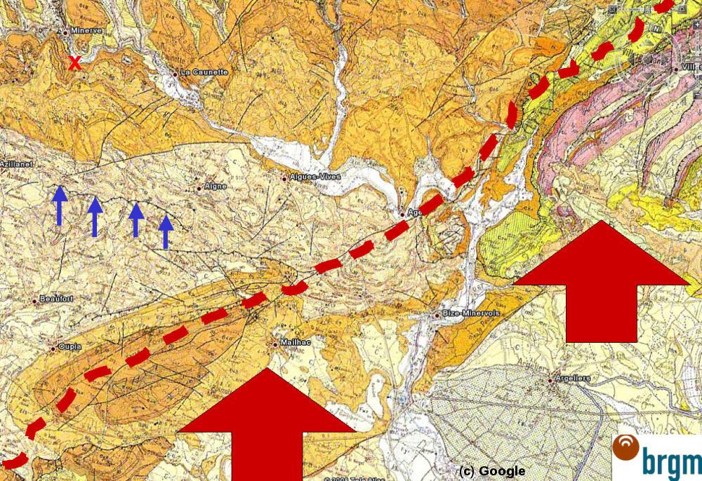 Carte géologique BRGM/Google Earth du secteur de Minerve – La Caunette (Hérault)