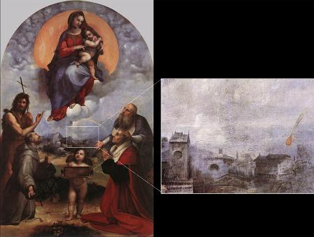 La Madone de Foligno (Raphaël) et détail de la représentation d'une chute de météorite