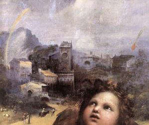 La Madone de Foligno (Raphaël), détail de la «ville» à l'arrière plan, avec la chute d'un bolide à droite