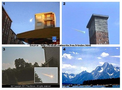 Chutes de grosses météorites (bolides) photographiées en plein jour: 4 exemples