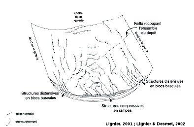 Bloc diagramme schématique représentant la disposition relative des structures synsédimentaires dans les remplissages rythmés de la galerie du Boulevarve