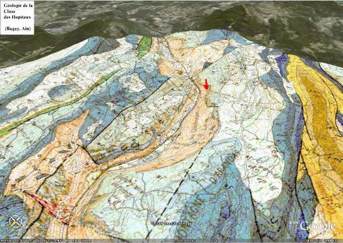 Localisation sur carte BRGM/ Google Earth de la Grotte Sous Les Sangles (Ain)