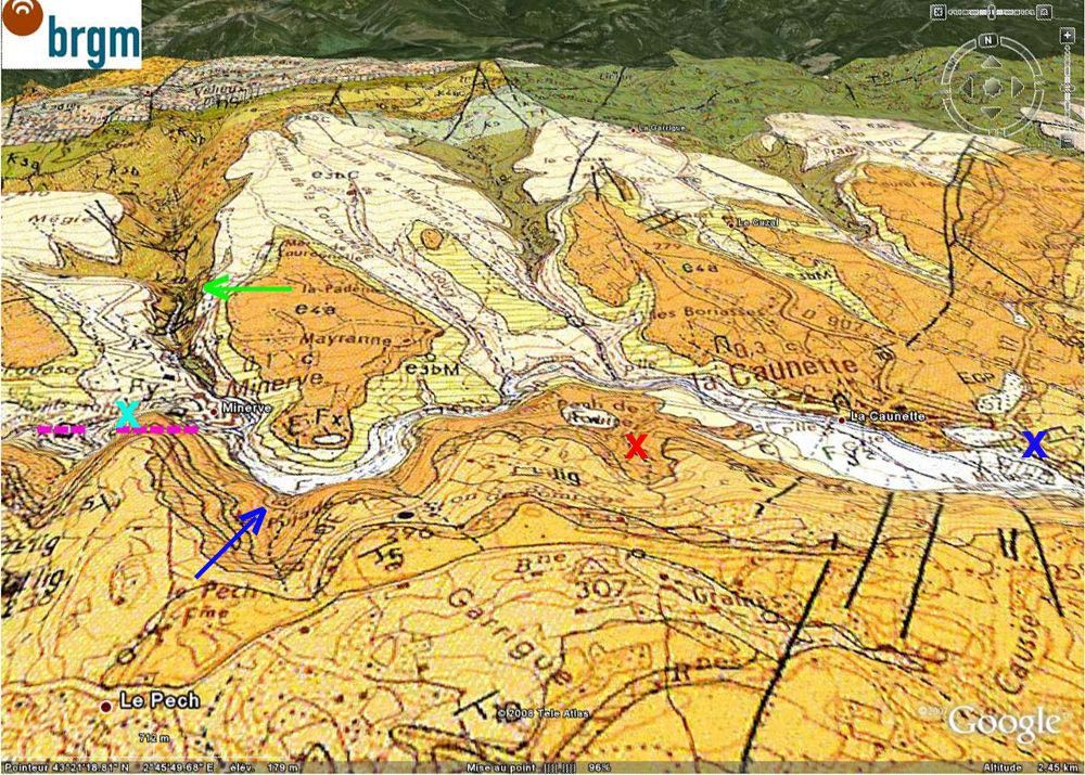 Localisation, sur carte géologique BRGM/Google Earth, de l'affleurement de grès à stratifications obliques, La Caunette, Hérault