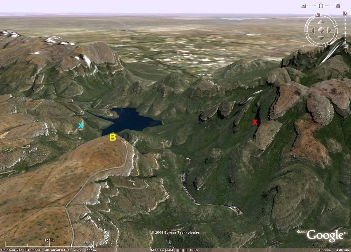 Localisation, sur vue Google Earth, du canyon de la Blyde River, Afrique du Sud