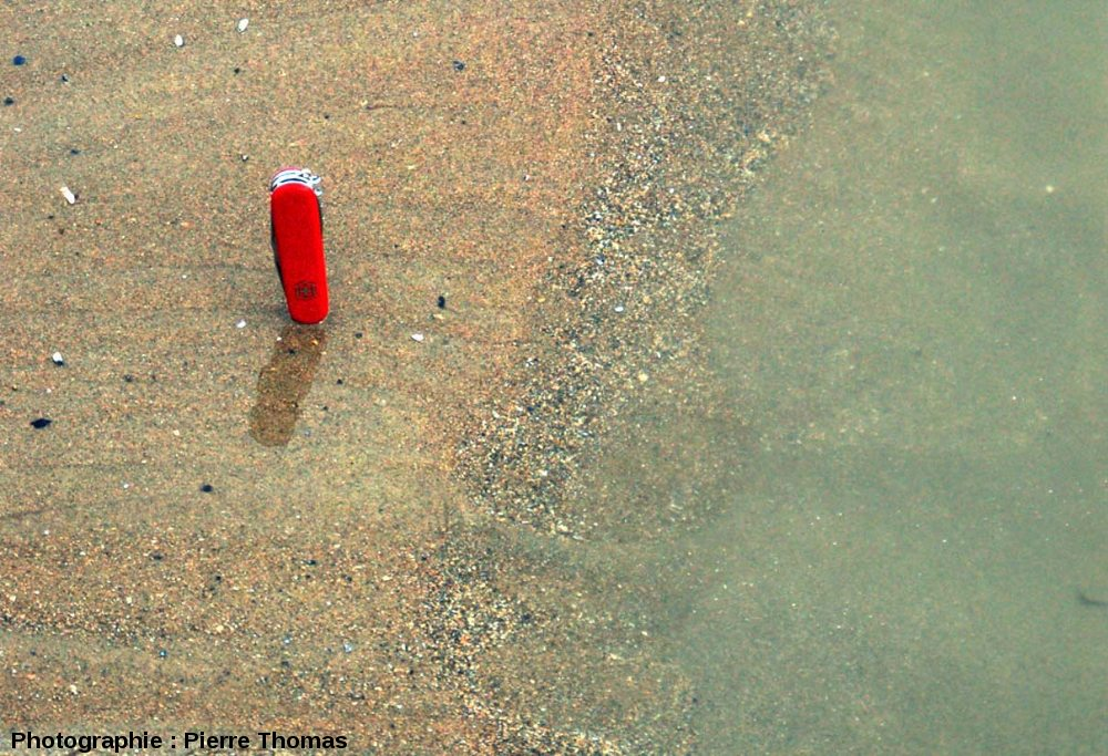 Gros plan sur la pente aval d'un mini-delta progradant, plage du Cap Gris Nez (Pas de Calais)
