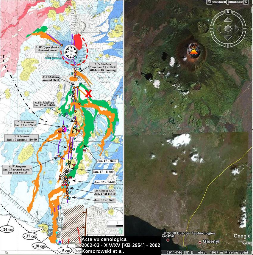 Juxtaposition à la même échelle de la carte des coulées de 1977 et 2002 du Nyiragongo et de la vue Google Earth correspondante
