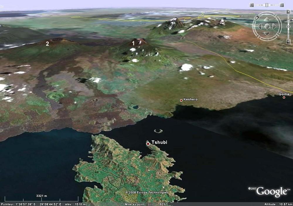 Le Nyiragongo et le Nyamuragira, deux volcans de la République Démocratique du Congo, vus par Google Earth