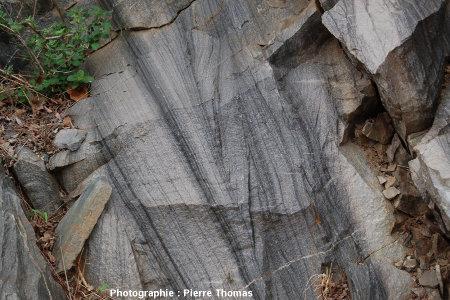 Ensembles progradants du groupe de Moodies (Afrique du Sud): couches basculées de 70° remises à l'horizontale sur l'image 9