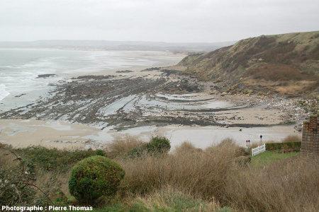 La plage du Cap Gris-Nez (Pas de Calais), vue prise depuis le versant Est du cap, en direction de l'Est