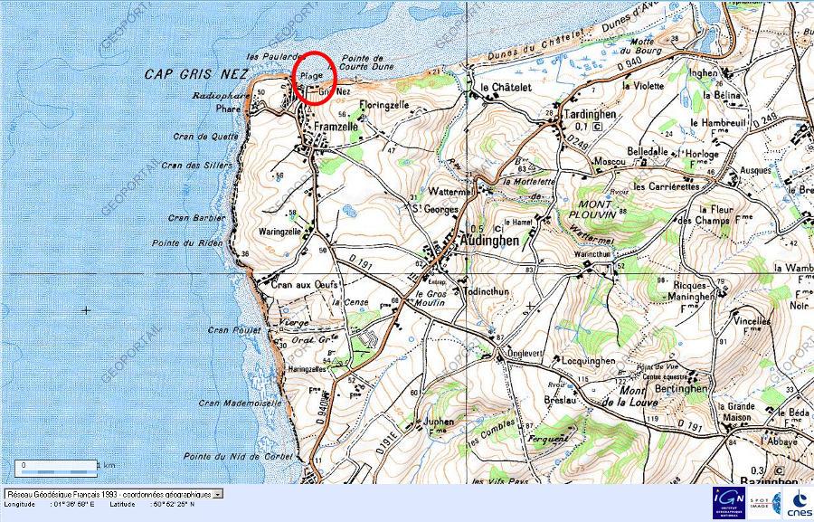 Localisation de la plage du Cap Gris-Nez (Pas de Calais) sur carte IGN