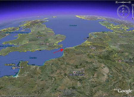 Localisation du Cap Gris-Nez (Pas de Calais) sur image Google Earth