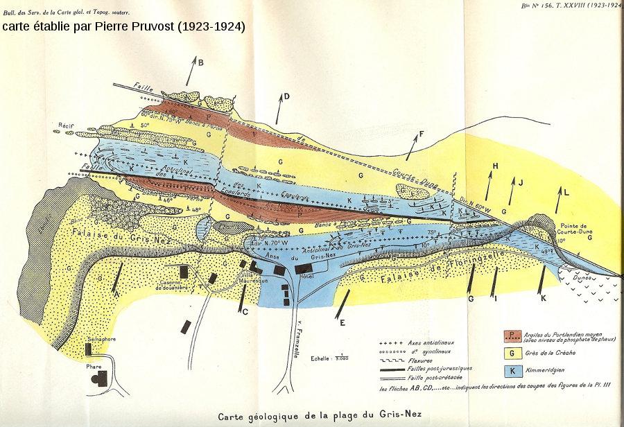 Carte géologique du Cap Gris-Nez datant de 1923-1924, établie par Pierre Pruvost