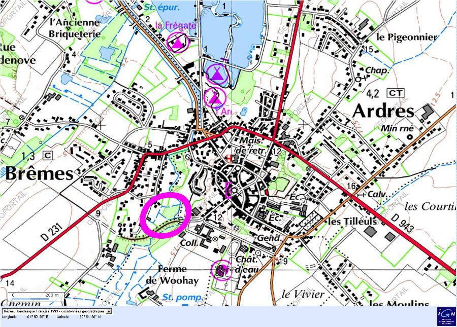 Localisation (ovale violet) des cressonnières de M. Catez, Brêmes (Pas de Calais)