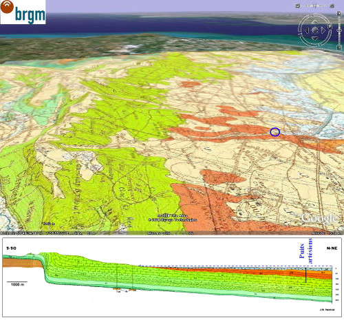 Carte géologique (BRGM/Google Earth) et coupe géologique (extrait de la carte géologique BRGM 1/50000 de Guines) du secteur de Brêmes et d'Ardres, Pas de Calais