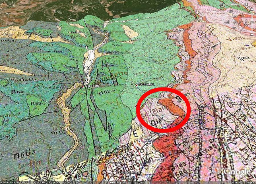 Cadre géologique du gisement (ovale rouge) où a été trouvé le colibri d'âge oligocène, bassin d'Apt
