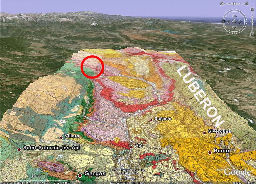 Carte géologique montrant le bassin oligocène d'Apt (teintes rose) au pied du Luberon