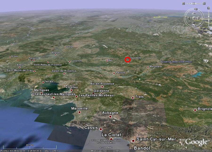 Localisation d'Oppedette (04) dans la région Provence Alpes Côte d'Azur