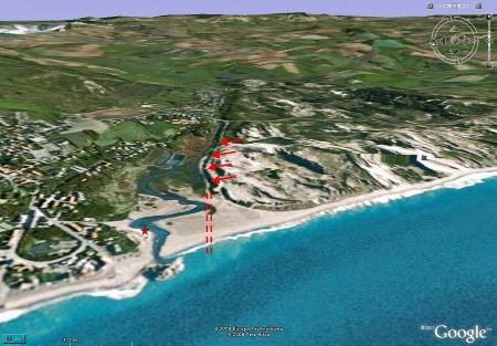 Trajet (approximatif) de la déviation de la Slack sur fond d'image Google Earth