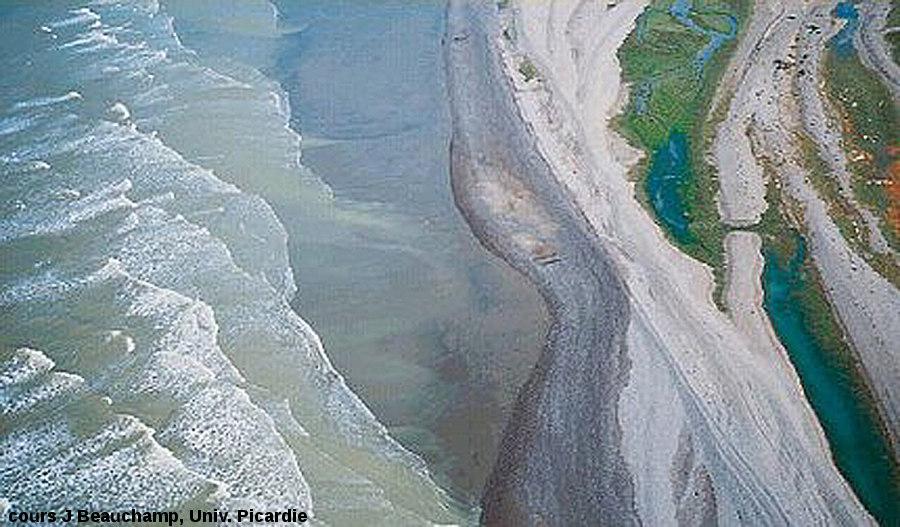 Photo aérienne du littoral picard (juste au sud de l'estuaire de la Slack) montrant l'obliquité de la houle par rapport à la côte