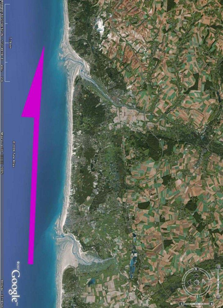 Image Google Earth de la côte de Picardie et du Nord Pas de Calais entre les estuaires de l'Authie (au Sud) et de la Canche (au Nord)
