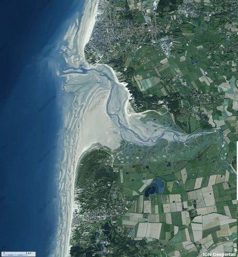 Image IGN-Géoportail de l'estuaire de l'Authie