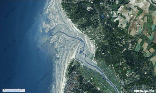 Image IGN-Géoportail de l'estuaire de la Canche