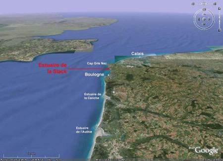 Situation des estuaires de la Slack, de la Canche et de l'Authie dans leur cadre géographique