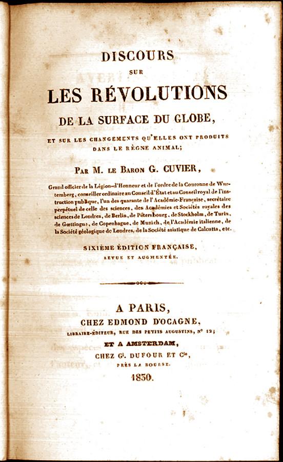 Page de garde du livre de Georges Cuvier «Discours sur les révolutions du globe et les changements qu'elles ont produits dans le règne animal»