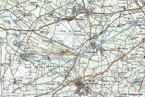 Localisation de la galerie souterraine partant du Sud de l'étang de Montady et se dirigeant vers le ruisseau dit «de Montady»
