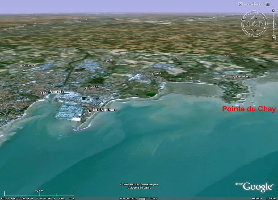 Localisation de la Pointe du Chay, au Sud de La Rochelle, Charente Maritime